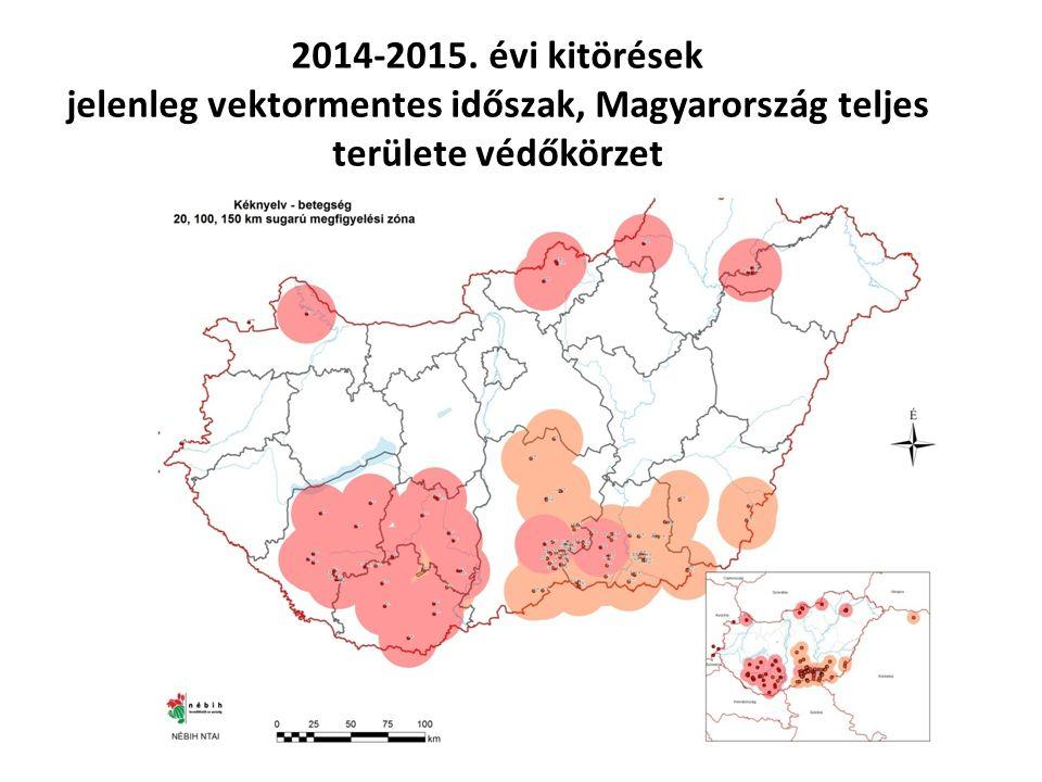 2014-2015. évi kitörések jelenleg vektormentes időszak, Magyarország teljes területe védőkörzet