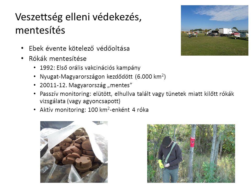 Veszettség elleni védekezés, mentesítés Ebek évente kötelező védőoltása Rókák mentesítése 1992: Első orális vakcinációs kampány Nyugat-Magyarországon kezdődött (6.000 km 2 ) 20011-12.