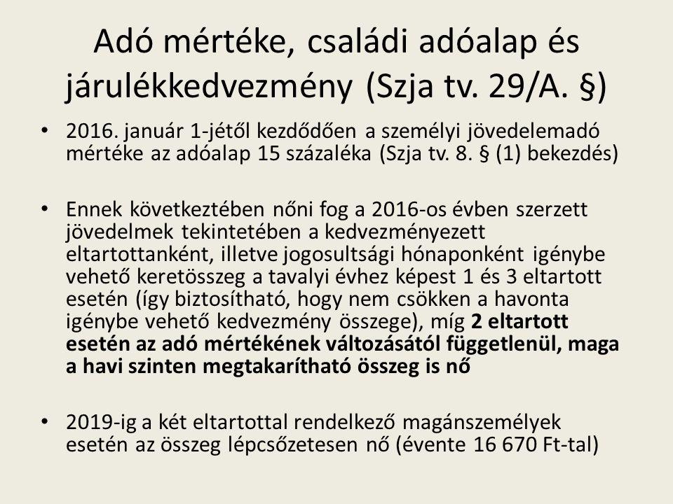 Adó mértéke, családi adóalap és járulékkedvezmény (Szja tv.