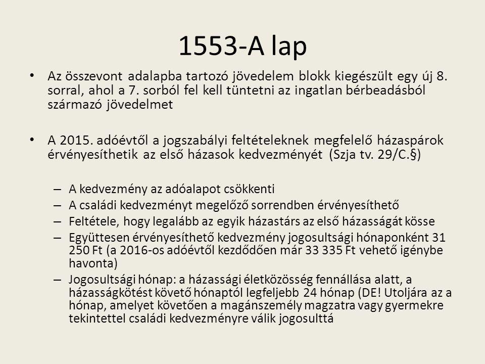 1553-A lap Az összevont adalapba tartozó jövedelem blokk kiegészült egy új 8.