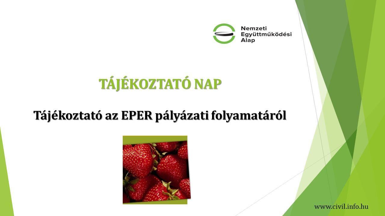 TÁJÉKOZTATÓ NAP Tájékoztató az EPER pályázati folyamatáról www.civil.info.hu