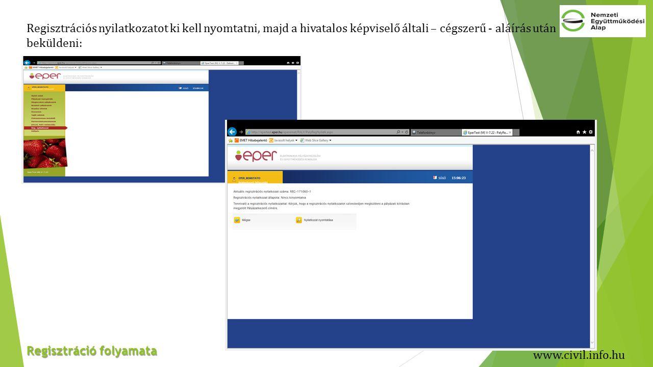 Regisztráció folyamata Regisztrációs nyilatkozatot ki kell nyomtatni, majd a hivatalos képviselő általi – cégszerű - aláírás után beküldeni: www.civil.info.hu