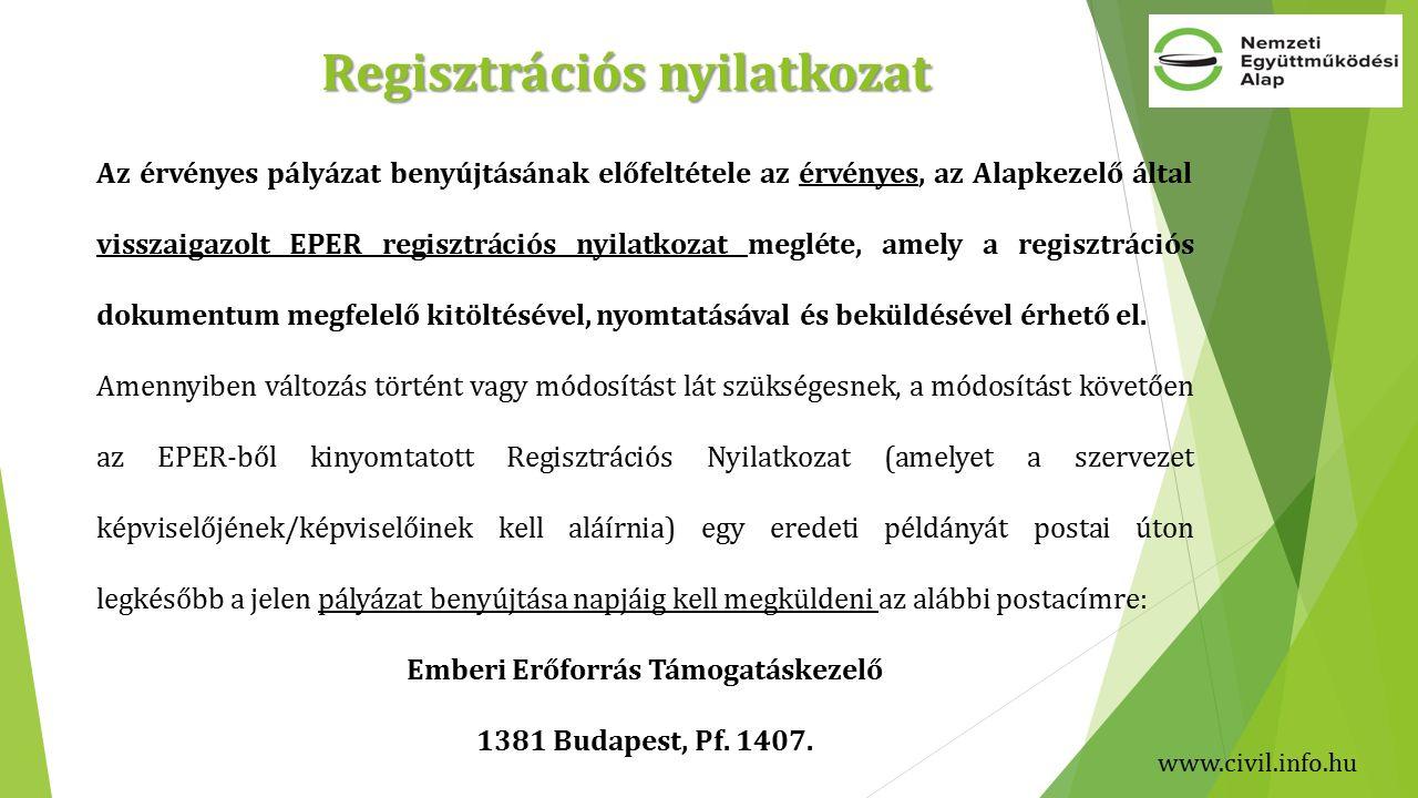 Az érvényes pályázat benyújtásának előfeltétele az érvényes, az Alapkezelő által visszaigazolt EPER regisztrációs nyilatkozat megléte, amely a regisztrációs dokumentum megfelelő kitöltésével, nyomtatásával és beküldésével érhető el.