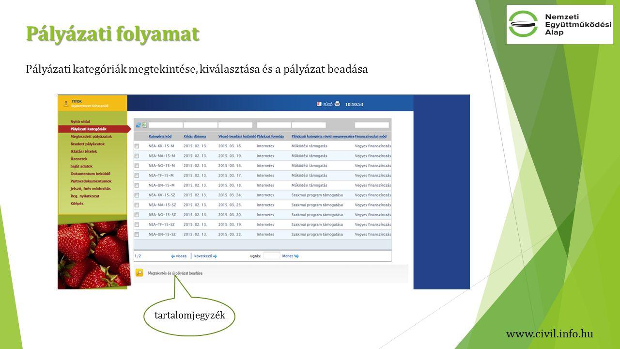 Pályázati folyamat Pályázati kategóriák megtekintése, kiválasztása és a pályázat beadása tartalomjegyzék www.civil.info.hu