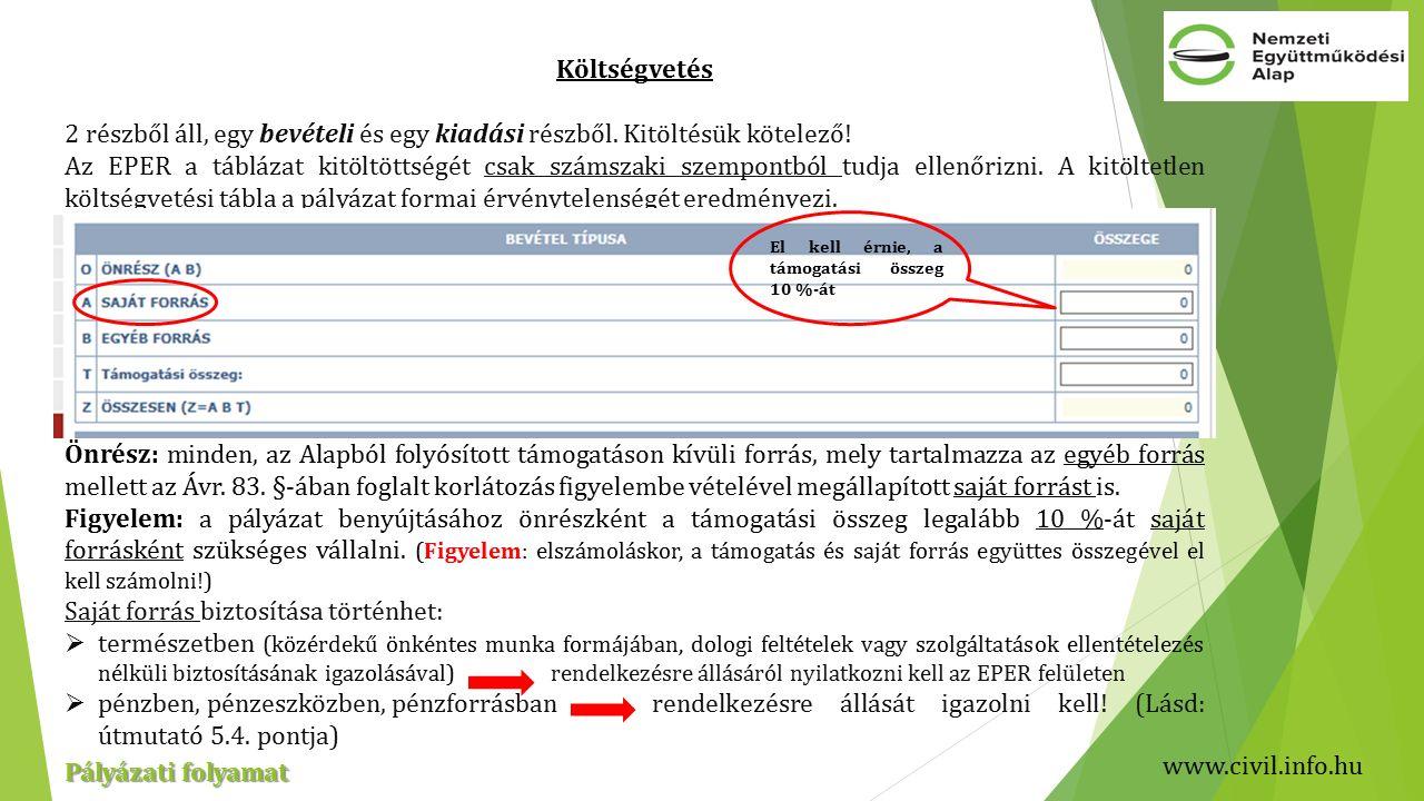 www.civil.info.hu Pályázati folyamat Költségvetés 2 részből áll, egy bevételi és egy kiadási részből.