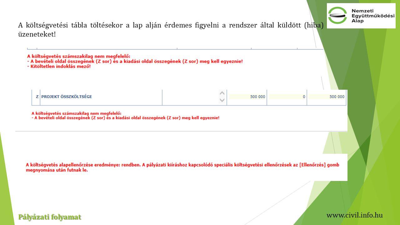 www.civil.info.hu Pályázati folyamat A költségvetési tábla töltésekor a lap alján érdemes figyelni a rendszer által küldött (hiba) üzeneteket!
