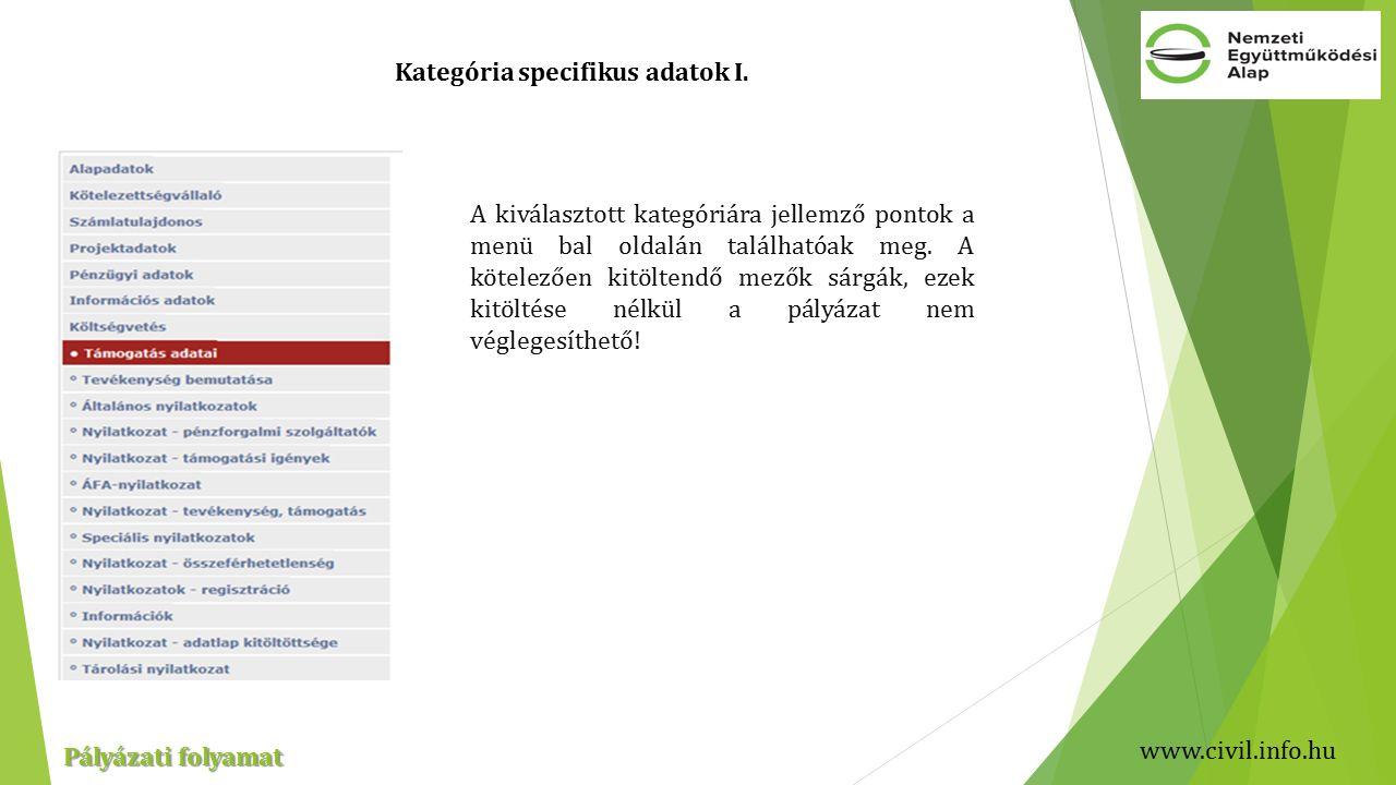 www.civil.info.hu Pályázati folyamat Kategória specifikus adatok I.