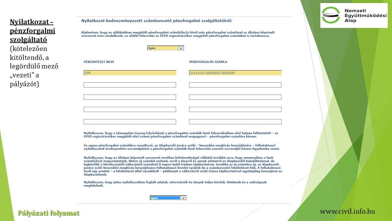 """www.civil.info.hu Pályázati folyamat Nyilatkozat – pénzforgalmi szolgáltató (kötelezően kitöltendő, a legördülő mező """"vezeti a pályázót)"""