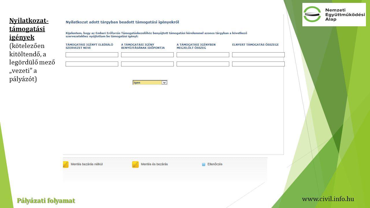 """www.civil.info.hu Pályázati folyamat Nyilatkozat- támogatási igények (kötelezően kitöltendő, a legördülő mező """"vezeti a pályázót)"""