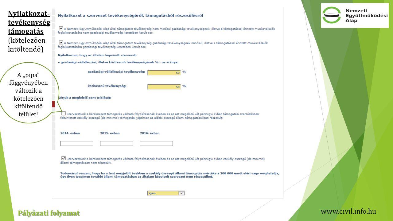 """www.civil.info.hu Pályázati folyamat Nyilatkozat- tevékenység támogatás (kötelezően kitöltendő) A """"pipa függvényében változik a kötelezően kitöltendő felület!"""