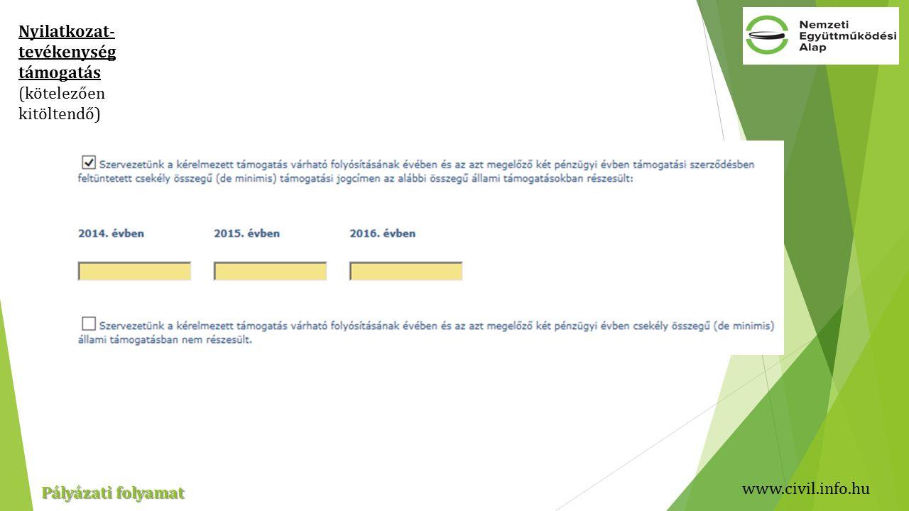 www.civil.info.hu Pályázati folyamat Nyilatkozat- tevékenység támogatás (kötelezően kitöltendő)