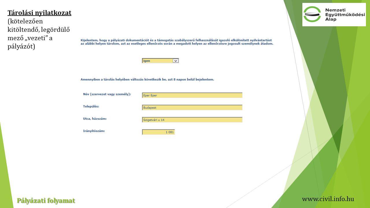 """www.civil.info.hu Pályázati folyamat Tárolási nyilatkozat (kötelezően kitöltendő, legördülő mező """"vezeti a pályázót)"""