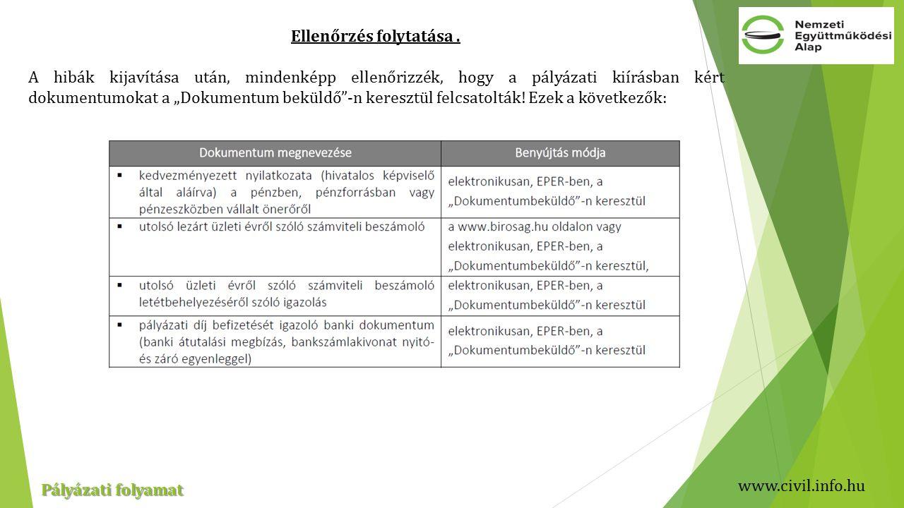 www.civil.info.hu Pályázati folyamat Ellenőrzés folytatása.