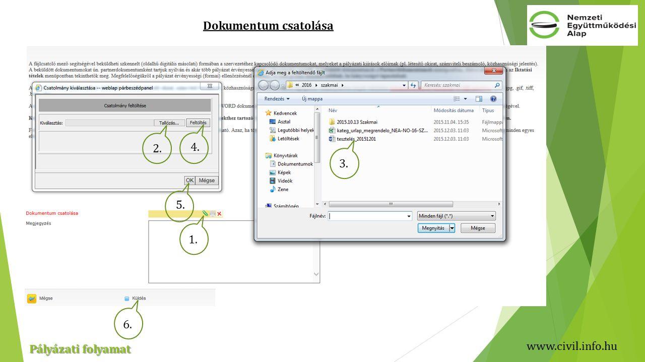 www.civil.info.hu Pályázati folyamat Dokumentum csatolása 1. 4. 5. 2. 3. 6.