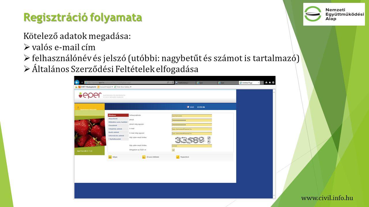 Regisztráció folyamata Kötelező adatok megadása:  valós e-mail cím  felhasználónév és jelszó (utóbbi: nagybetűt és számot is tartalmazó)  Általános Szerződési Feltételek elfogadása www.civil.info.hu