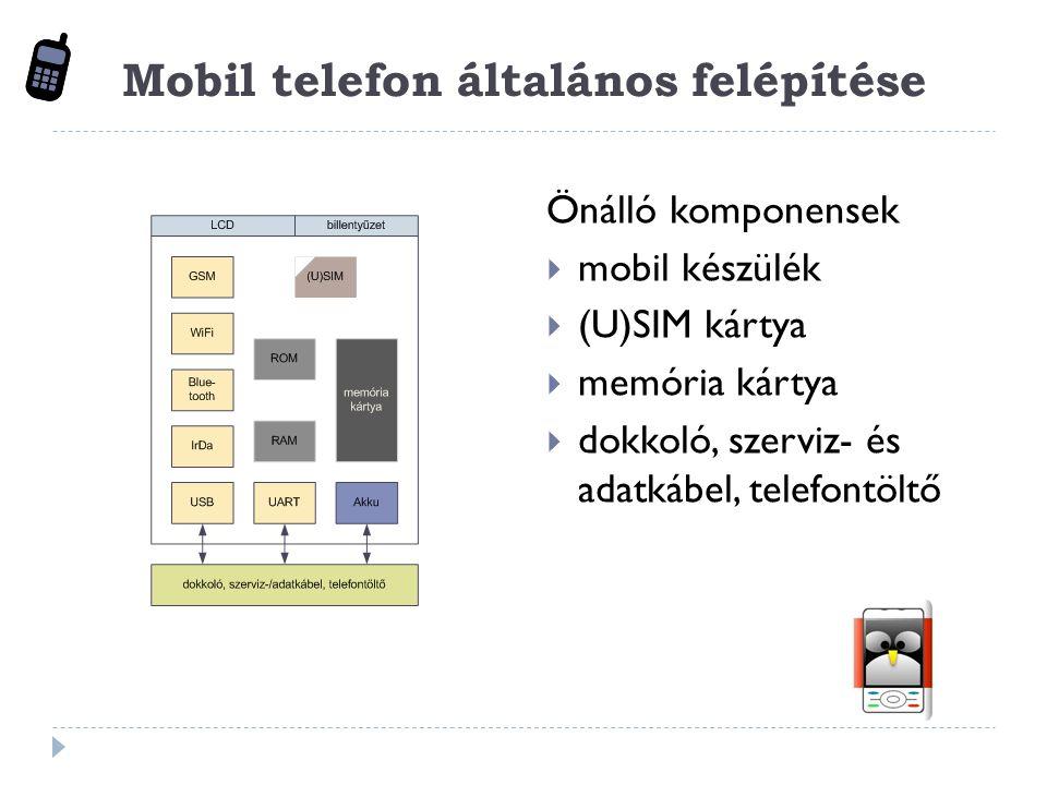 Mobil telefon általános felépítése Önálló komponensek  mobil készülék  (U)SIM kártya  memória kártya  dokkoló, szerviz- és adatkábel, telefontöltő