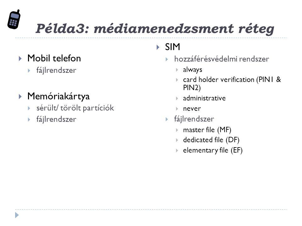 Példa3: médiamenedzsment réteg  Mobil telefon  fájlrendszer  Memóriakártya  sérült/ törölt partíciók  fájlrendszer  SIM  hozzáférésvédelmi rendszer  always  card holder verification (PIN1 & PIN2)  administrative  never  fájlrendszer  master file (MF)  dedicated file (DF)  elementary file (EF)