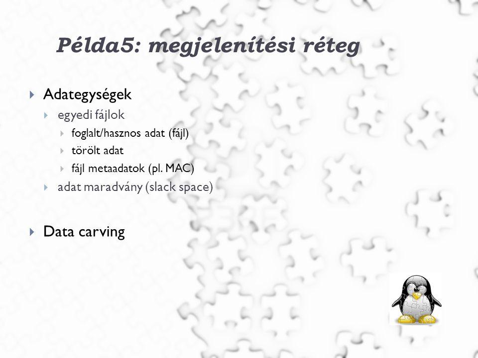 Példa5: megjelenítési réteg  Adategységek  egyedi fájlok  foglalt/hasznos adat (fájl)  törölt adat  fájl metaadatok (pl.