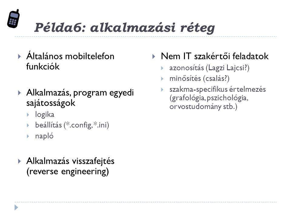 Példa6: alkalmazási réteg  Általános mobiltelefon funkciók  Alkalmazás, program egyedi sajátosságok  logika  beállítás (*.config, *.ini)  napló  Alkalmazás visszafejtés (reverse engineering)  Nem IT szakértői feladatok  azonosítás (Lagzi Lajcsi?)  minősítés (csalás?)  szakma-specifikus értelmezés (grafológia, pszichológia, orvostudomány stb.)