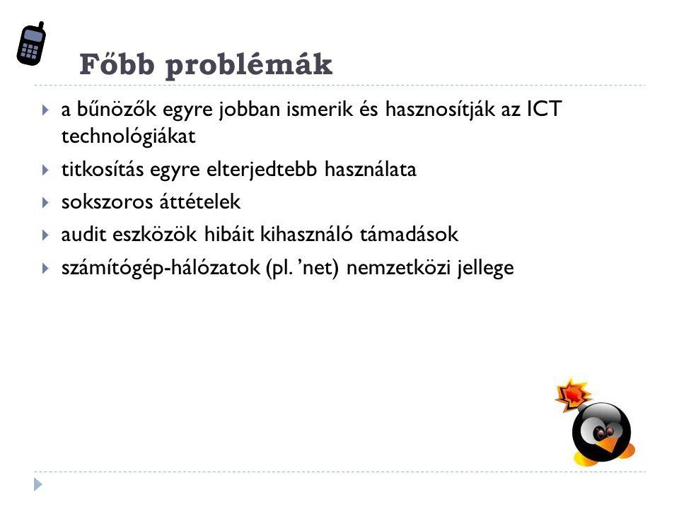 Főbb problémák  a bűnözők egyre jobban ismerik és hasznosítják az ICT technológiákat  titkosítás egyre elterjedtebb használata  sokszoros áttételek  audit eszközök hibáit kihasználó támadások  számítógép-hálózatok (pl.