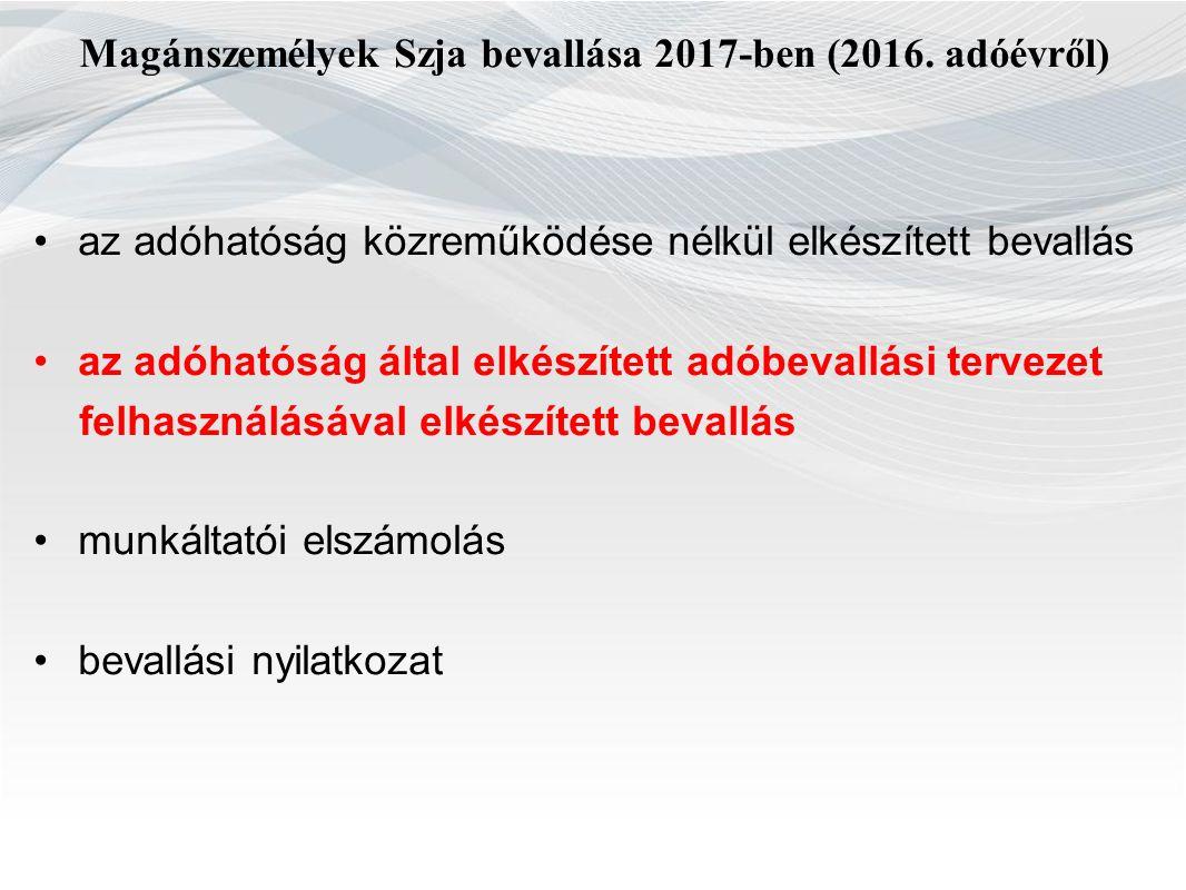 Magánszemélyek Szja bevallása 2017-ben (2016.