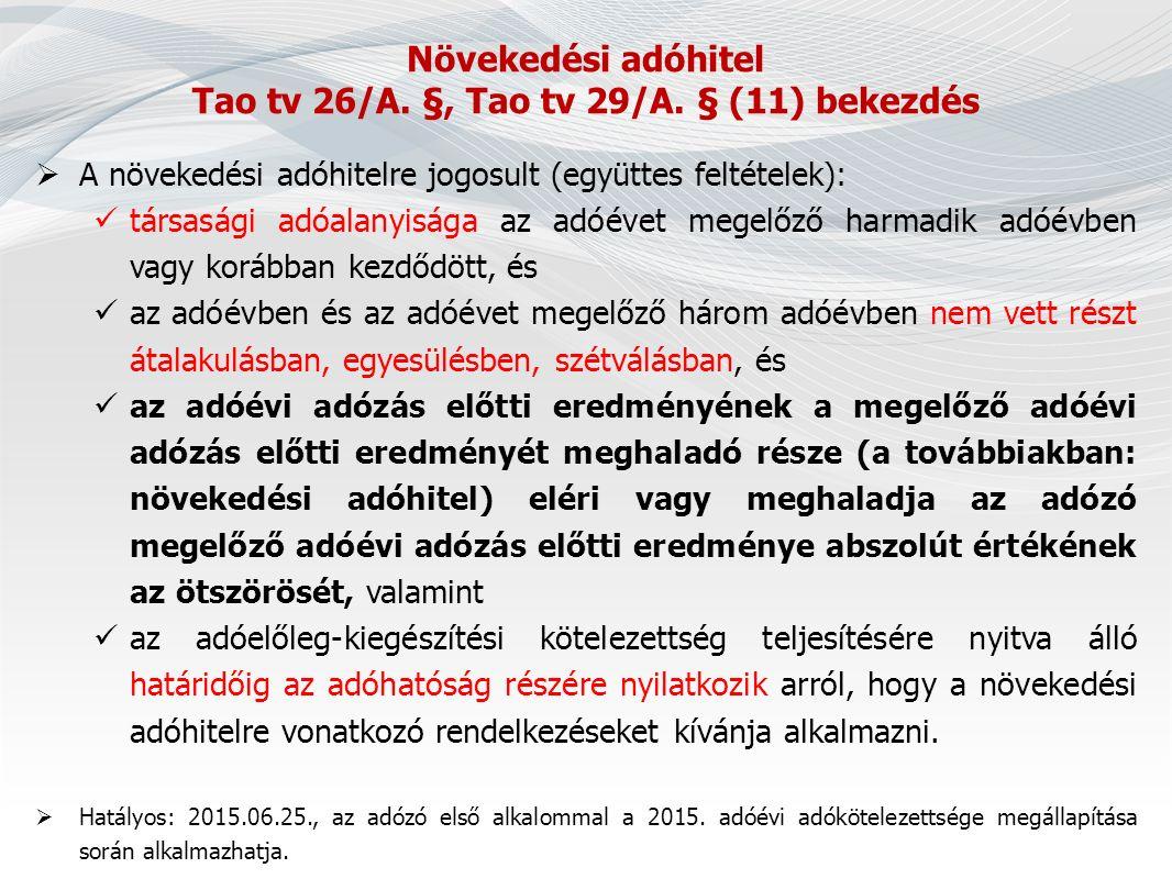 Növekedési adóhitel Tao tv 26/A. §, Tao tv 29/A.