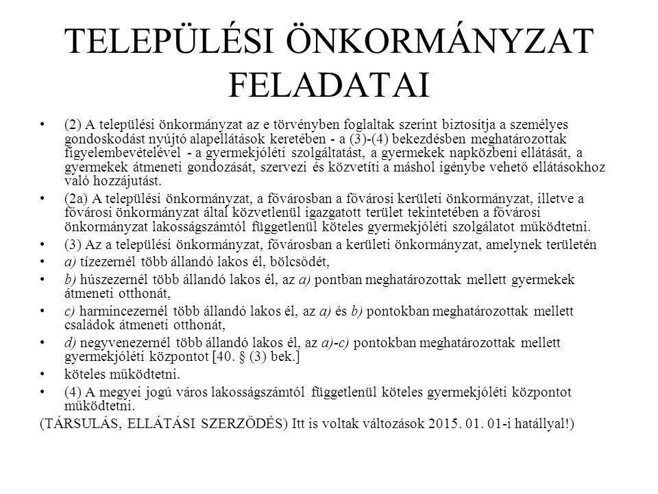 TELEPÜLÉSI ÖNKORMÁNYZAT FELADATAI (2) A települési önkormányzat az e törvényben foglaltak szerint biztosítja a személyes gondoskodást nyújtó alapellát