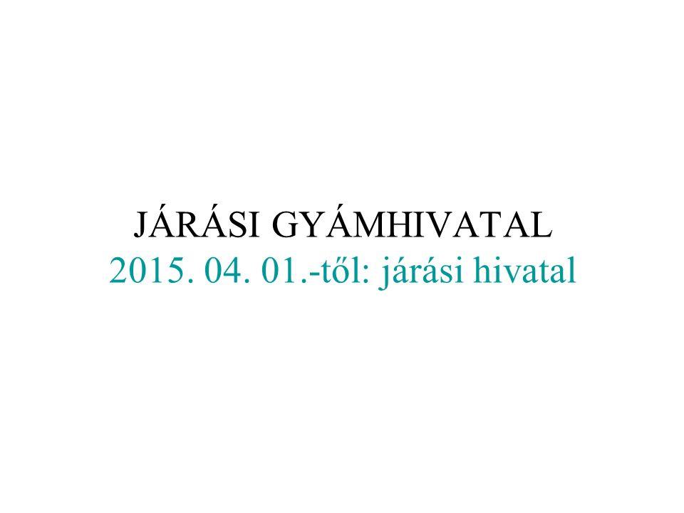 JÁRÁSI GYÁMHIVATAL 2015. 04. 01.-től: járási hivatal