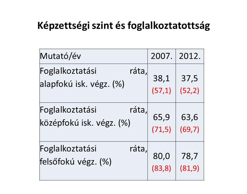 Képzettségi szint és foglalkoztatottság Mutató/év2007.2012.