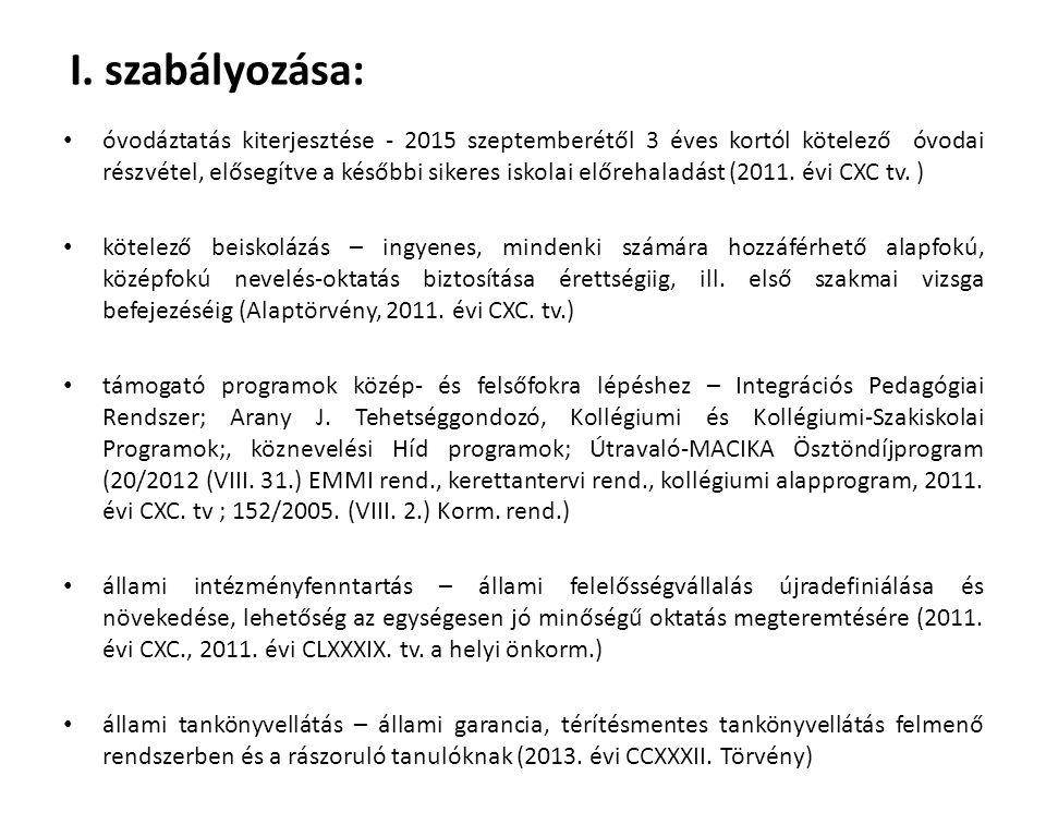 I. szabályozása: óvodáztatás kiterjesztése - 2015 szeptemberétől 3 éves kortól kötelező óvodai részvétel, elősegítve a későbbi sikeres iskolai előreha