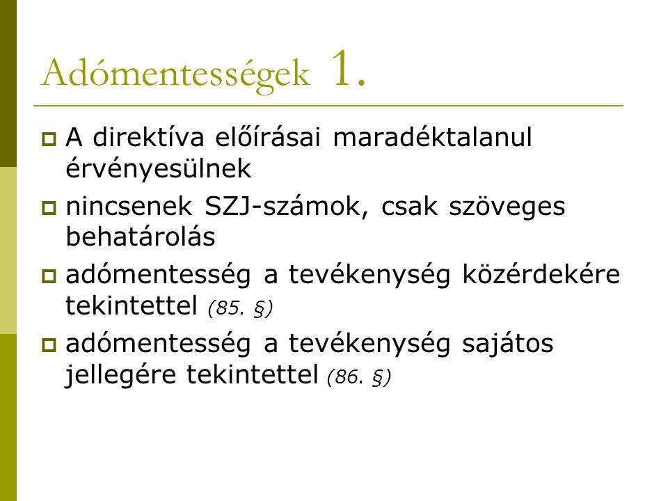 Adómentességek 1.