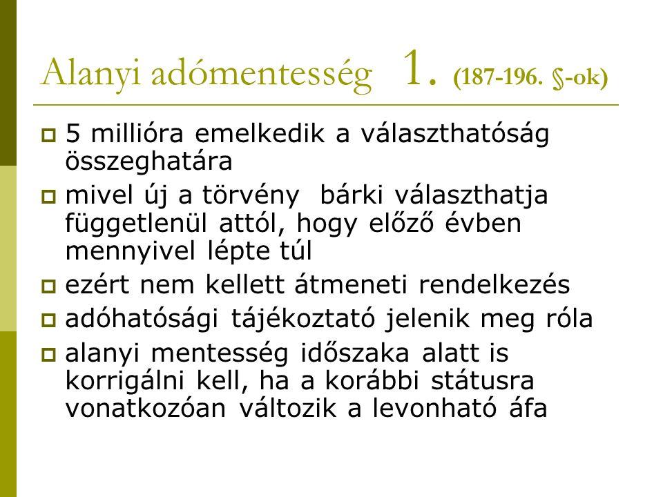 Alanyi adómentesség 1. (187-196.
