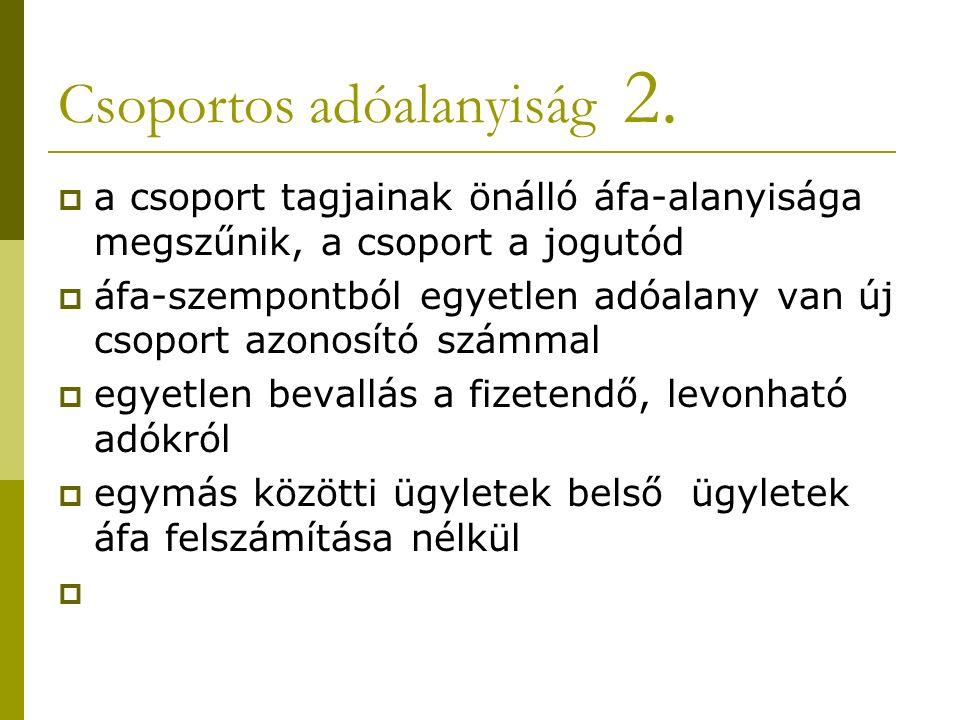 Csoportos adóalanyiság 2.