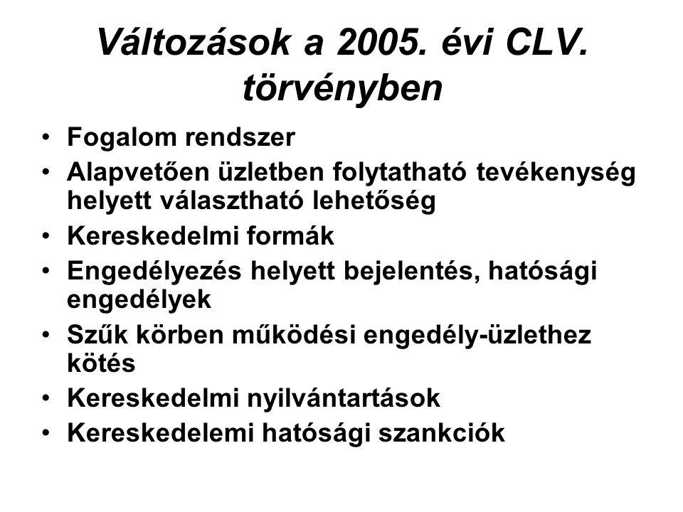 Változások a 2005. évi CLV.
