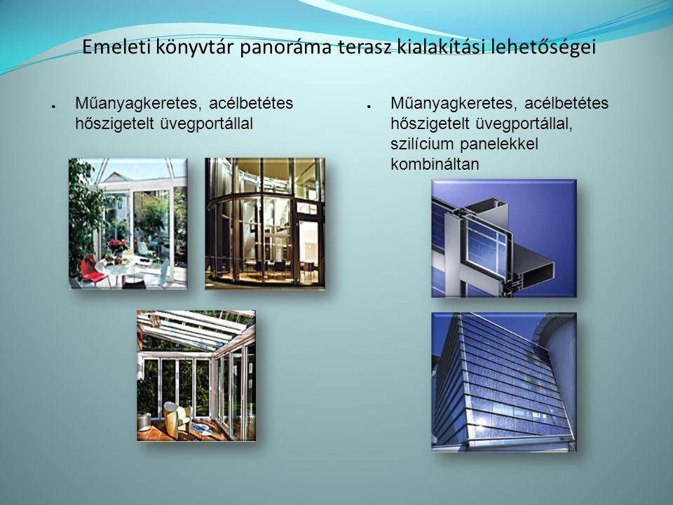 Emeleti könyvtár panoráma terasz kialakítási lehetőségei ● Műanyagkeretes, acélbetétes hőszigetelt üvegportállal ● Műanyagkeretes, acélbetétes hőszigetelt üvegportállal, szilícium panelekkel kombináltan