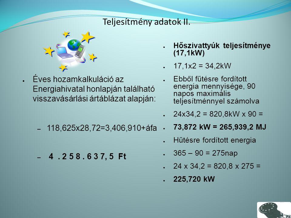 Teljesítmény adatok II.