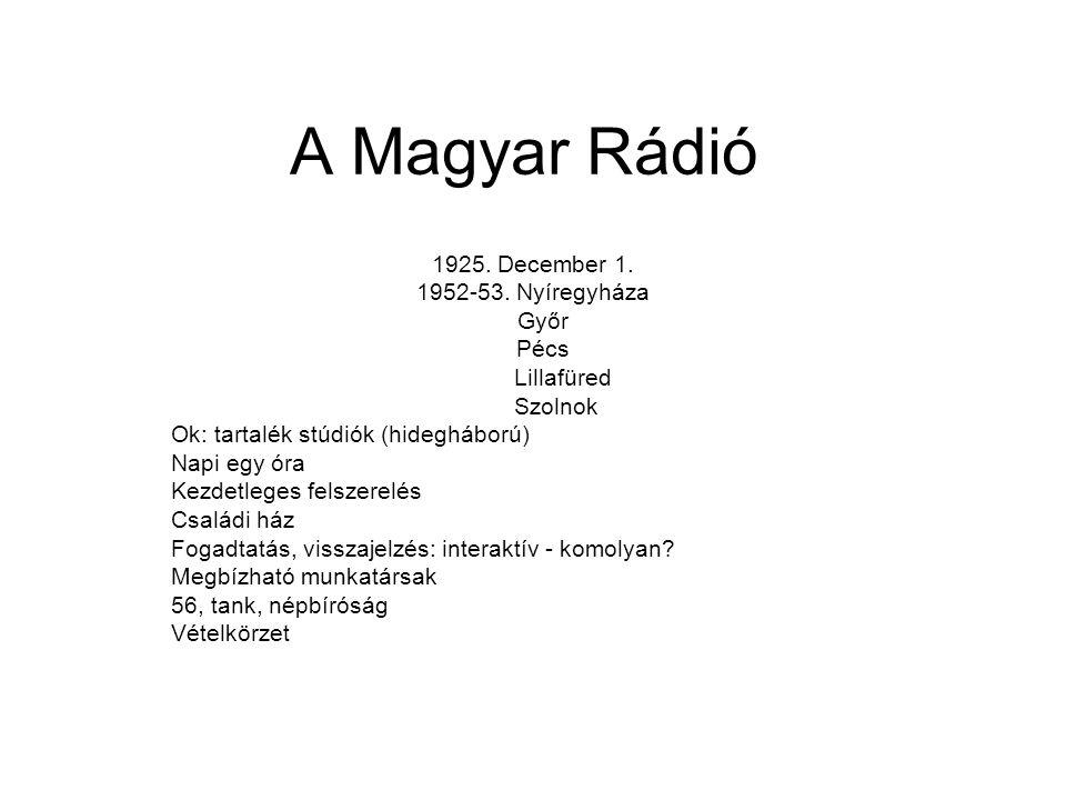 A Magyar Rádió 1925. December 1. 1952-53.