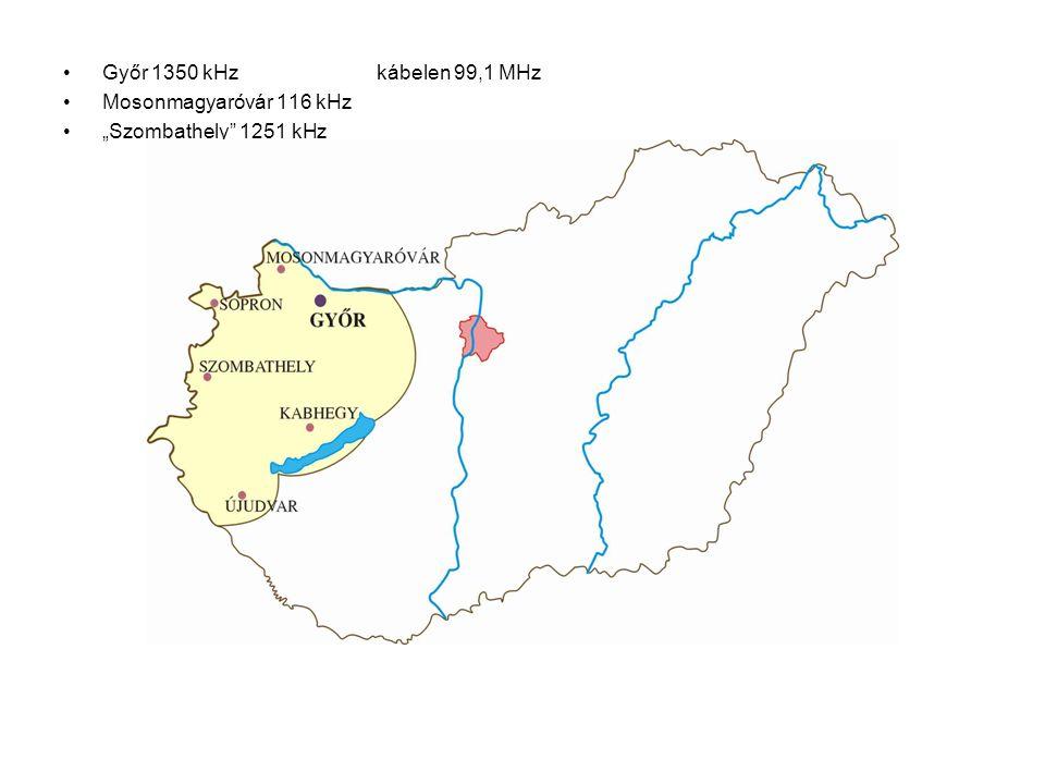 """Győr 1350 kHzkábelen 99,1 MHz Mosonmagyaróvár 116 kHz """"Szombathely 1251 kHz"""