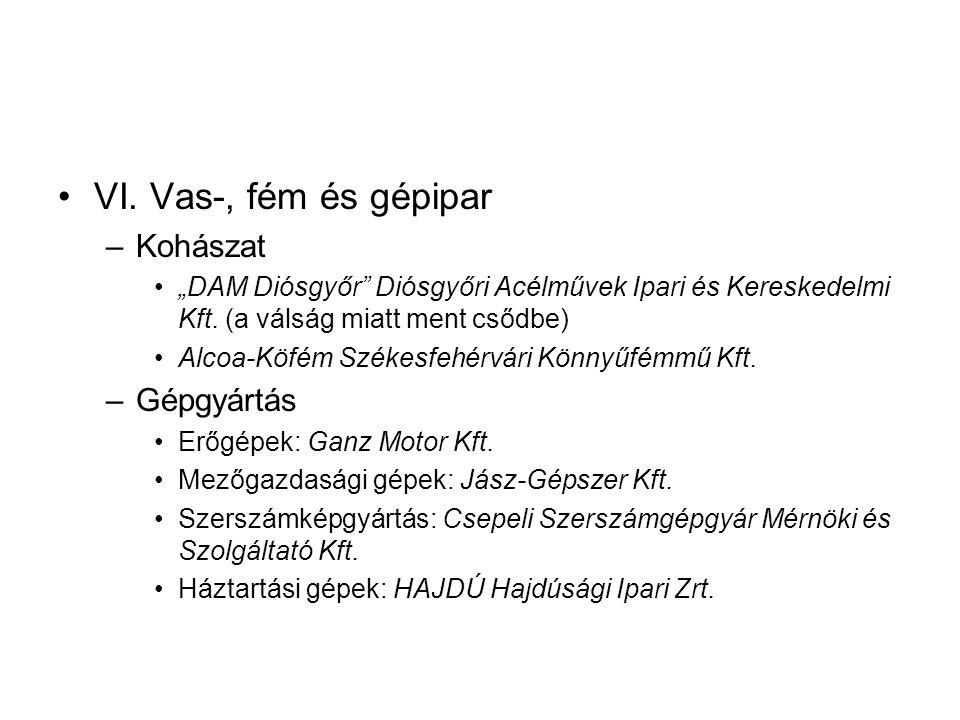 """VI.Vas-, fém és gépipar –Kohászat """"DAM Diósgyőr Diósgyőri Acélművek Ipari és Kereskedelmi Kft."""