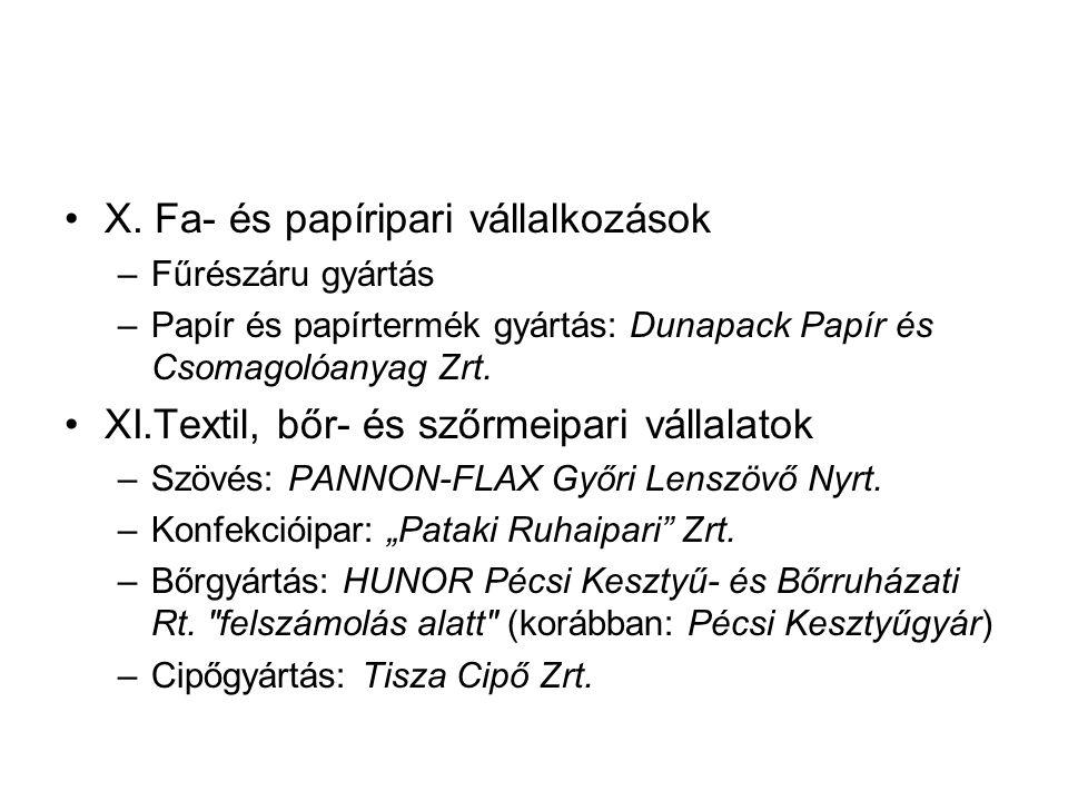 X. Fa- és papíripari vállalkozások –Fűrészáru gyártás –Papír és papírtermék gyártás: Dunapack Papír és Csomagolóanyag Zrt. XI.Textil, bőr- és szőrmeip