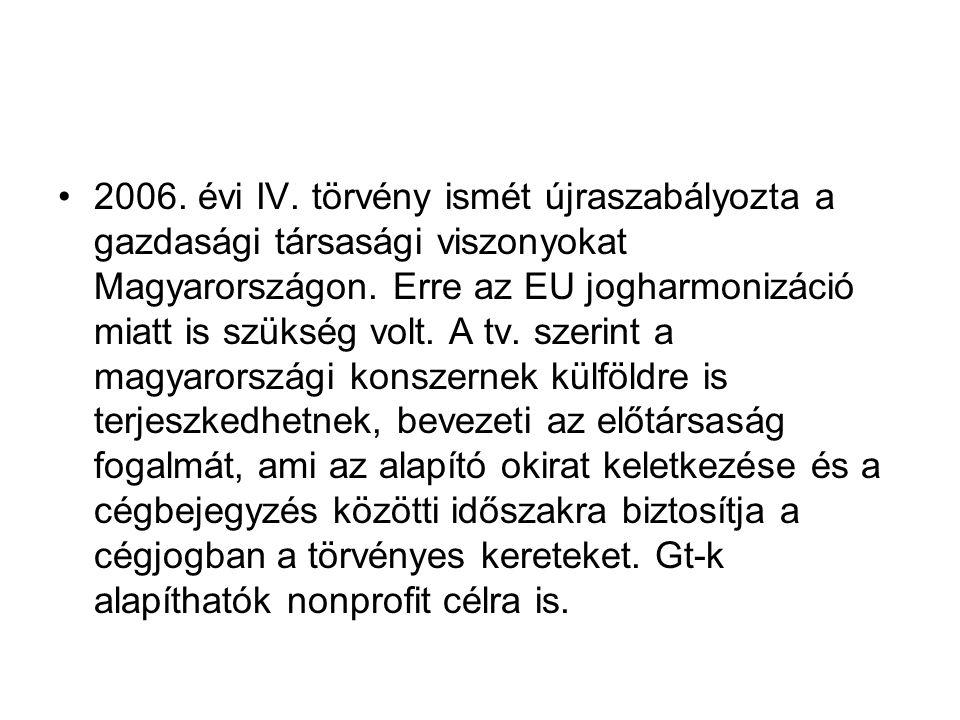 2006.évi IV. törvény ismét újraszabályozta a gazdasági társasági viszonyokat Magyarországon.