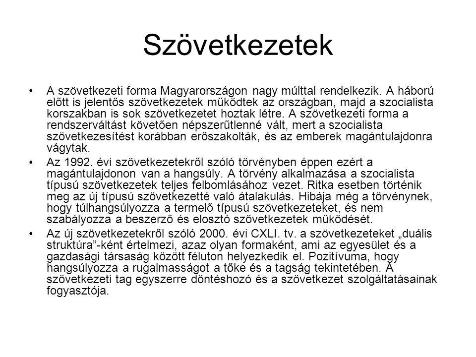 Szövetkezetek A szövetkezeti forma Magyarországon nagy múlttal rendelkezik.