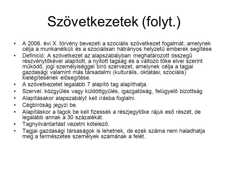 Szövetkezetek (folyt.) A 2006.évi X.