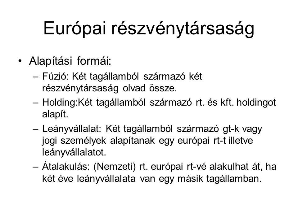 Európai részvénytársaság Alapítási formái: –Fúzió: Két tagállamból származó két részvénytársaság olvad össze.