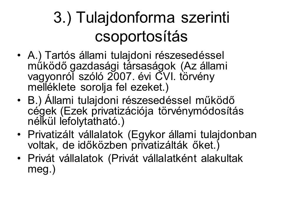 3.) Tulajdonforma szerinti csoportosítás A.) Tartós állami tulajdoni részesedéssel működő gazdasági társaságok (Az állami vagyonról szóló 2007.