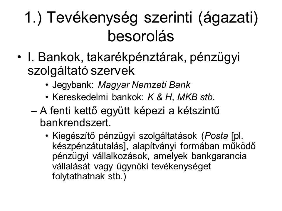 1.) Tevékenység szerinti (ágazati) besorolás I.