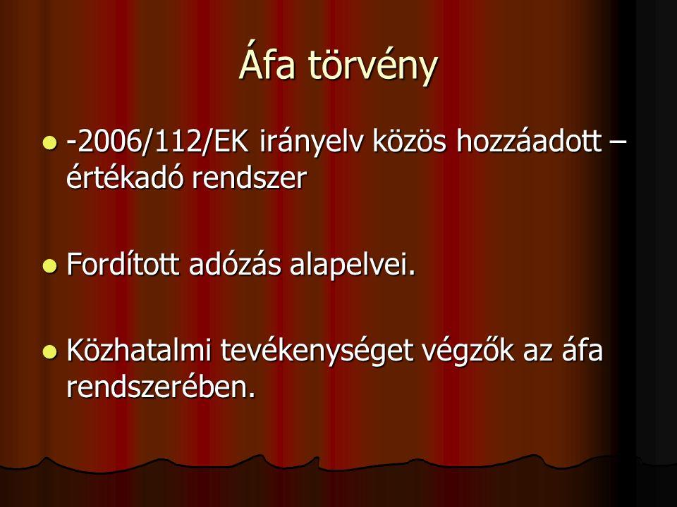 Áfa törvény -2006/112/EK irányelv közös hozzáadott – értékadó rendszer -2006/112/EK irányelv közös hozzáadott – értékadó rendszer Fordított adózás alapelvei.