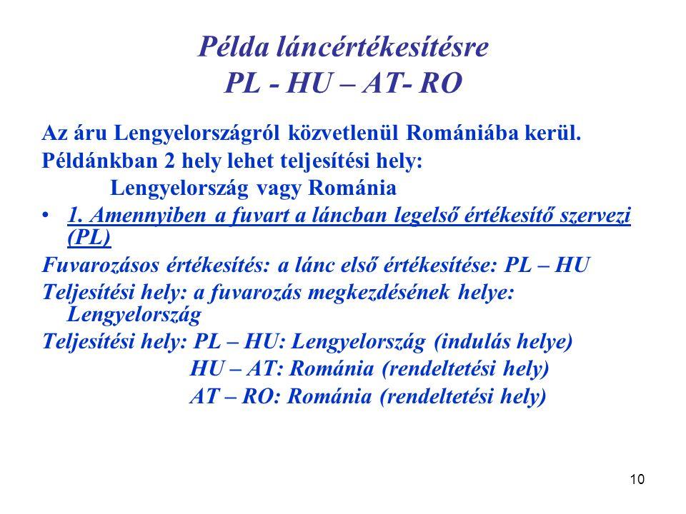 10 Példa láncértékesítésre PL - HU – AT- RO Az áru Lengyelországról közvetlenül Romániába kerül. Példánkban 2 hely lehet teljesítési hely: Lengyelorsz