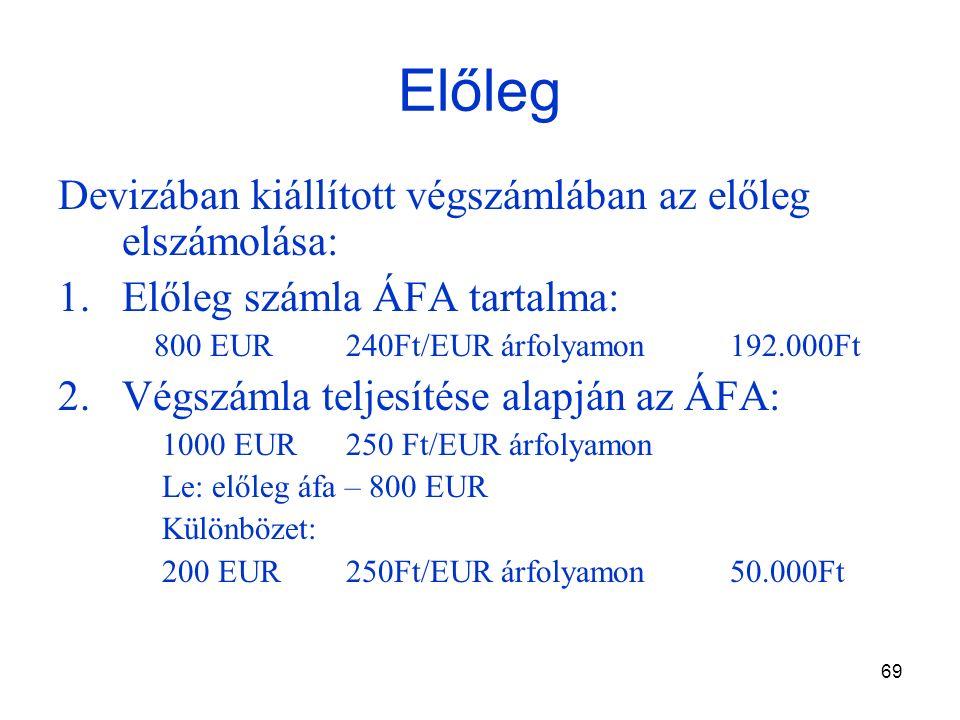 69 Előleg Devizában kiállított végszámlában az előleg elszámolása: 1.Előleg számla ÁFA tartalma: 800 EUR240Ft/EUR árfolyamon192.000Ft 2.Végszámla teljesítése alapján az ÁFA: 1000 EUR250 Ft/EUR árfolyamon Le: előleg áfa – 800 EUR Különbözet: 200 EUR250Ft/EUR árfolyamon50.000Ft