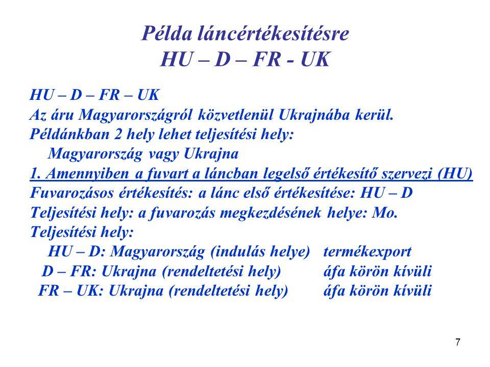 7 Példa láncértékesítésre HU – D – FR - UK HU – D – FR – UK Az áru Magyarországról közvetlenül Ukrajnába kerül. Példánkban 2 hely lehet teljesítési he